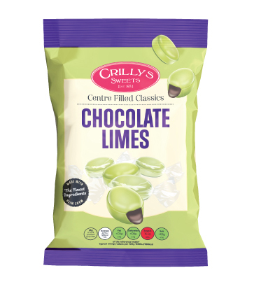 Crilly's Sweets Chocolate Limes Confectionery Bag Packaging