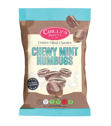 Crilly's Sweets Chewy Mint Humbugs Confectionery Bag Packaging