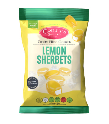 Crilly's Sweets Lemon Sherbets Confectionery Bag Packaging