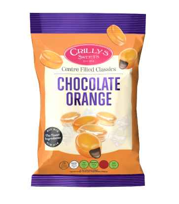 Crilly's Sweets Chocolate Orange Confectionery Bag Packaging