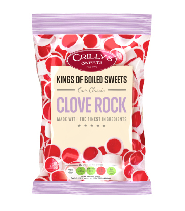 Crilly's Sweets Clove Rock Confectionery Bag Packaging