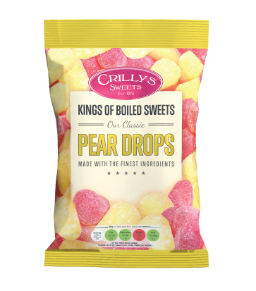 Crilly's Sweets Pear Drops Confectionery Bag Packaging