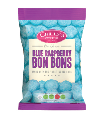 Crilly's Sweets Blue Raspberry Bon Cons Confectionery Bag Packaging