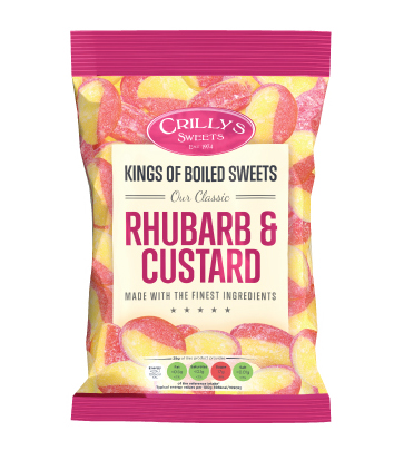 Crilly's Sweets Rhubarb & Custard Confectionery Bag Packaging