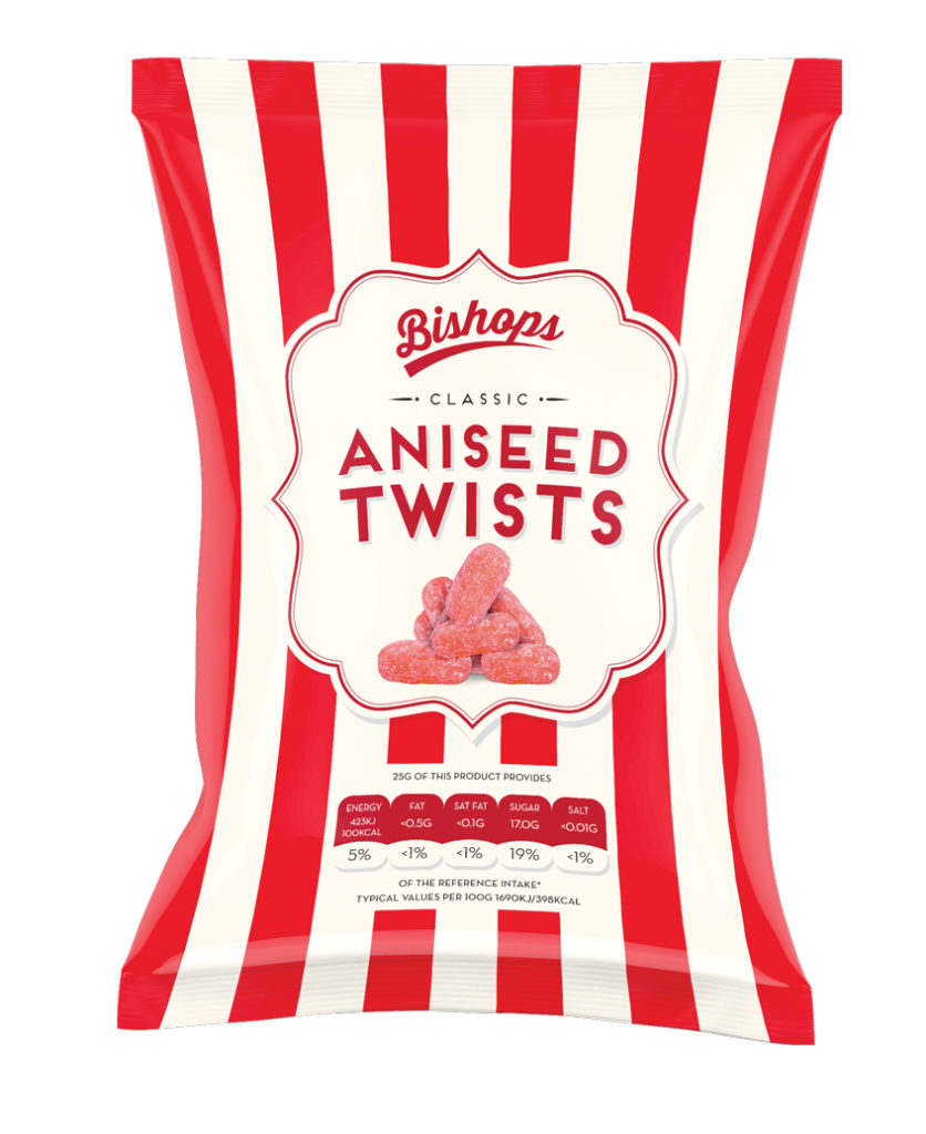 Crilly's Bishops Sweets Aniseed Twists Confectionery Bag Packaging