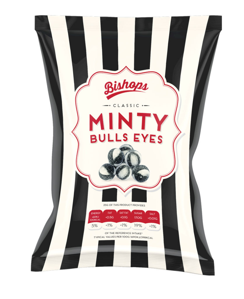 Crilly's Bishops Sweets Minty Bulls Eyes Confectionery Bag Packaging