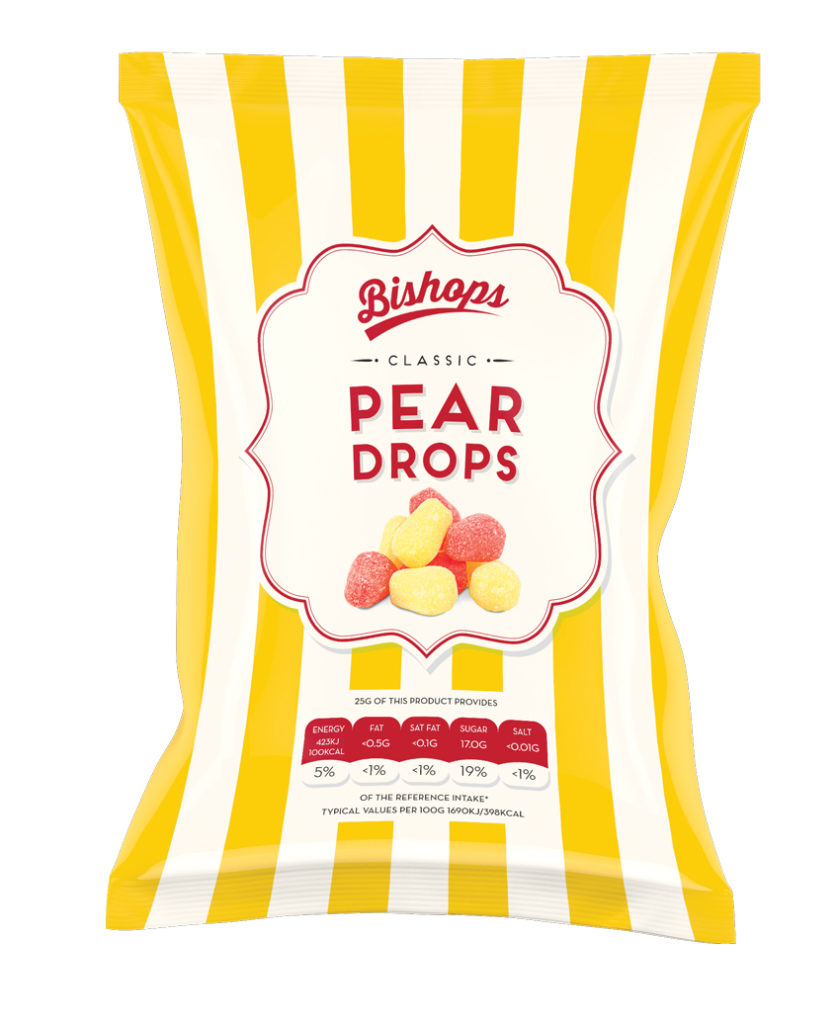 Crilly's Bishops Sweets Pear Drops Confectionery Bag Packaging