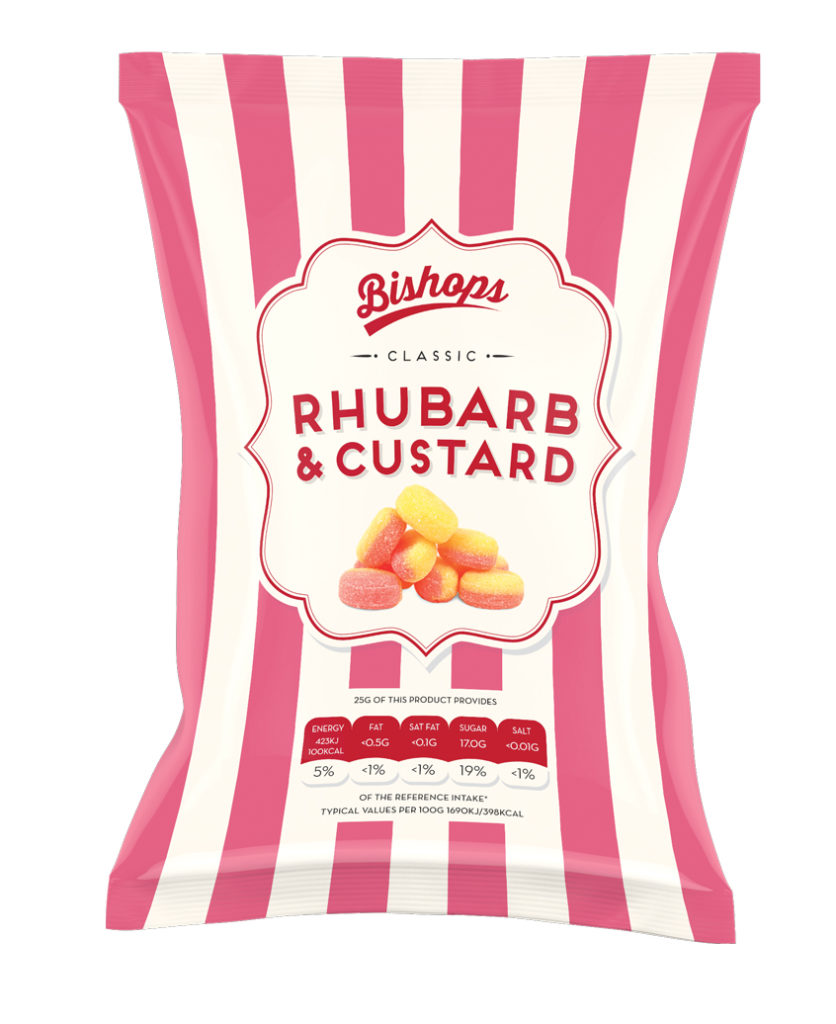 Crilly's Bishops Sweets Rhubarb & Custard Confectionery Bag Packaging