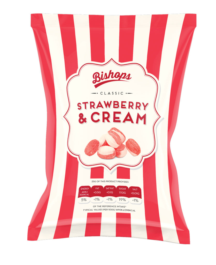 Crilly's Bishops Sweets Strawberry & Cream Confectionery Bag Packaging
